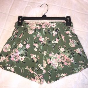 Green Floral Flowy Shorts